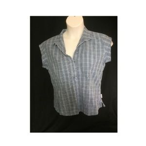 Woolrich Short Sleeve Top Blouse Button Down Plaid